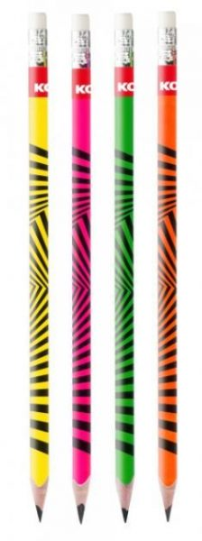 Tužka školní HB KORES NEON s gumou 1ks Obyčejná tužka Grafitos Neon - 1ks - Grafitová tužka se silnou a odolnou tuhou HB pro jemné psaní - Vysoce kvalitní dřevo pro snadné ořezávání - Trojhranný ergonomický tvar - S bílou pryží - Ideální pro použití doma